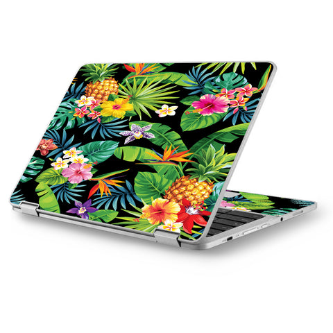 "Tropical Flowers Pineapple Hibiscus Hawaii Asus Chromebook Flip 12.5"" Skin"