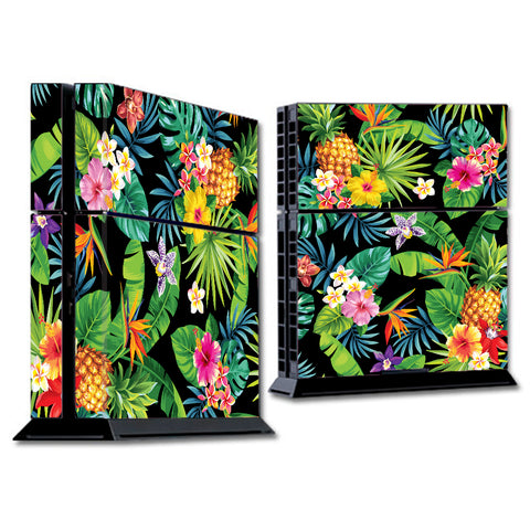 Tropical Flowers Pineapple Hibiscus Hawaii Sony Playstation PS4 Skin