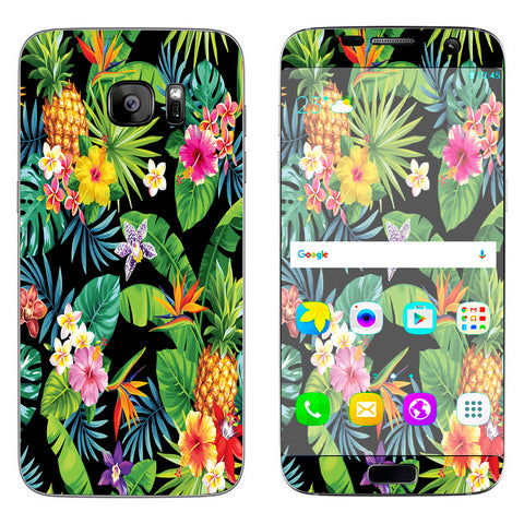 Tropical Flowers Pineapple Hibiscus Hawaii Samsung Galaxy S7 Edge Skin