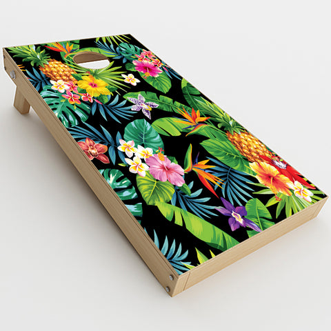 Tropical Flowers Pineapple Hibiscus Hawaii  Cornhole Game Board (2 pcs.) Skin