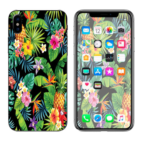 Tropical Flowers Pineapple Hibiscus Hawaii Apple iPhone X Skin
