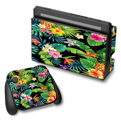 Tropical Flowers Pineapple Hibiscus Hawaii Nintendo Switch Skin