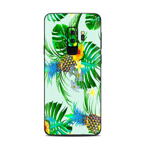 Tropical Floral Pattern Pineapple Palm Trees Samsung Galaxy S9 Plus Skin