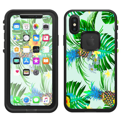 Tropical Floral Pattern Pineapple Palm Trees Lifeproof Fre Case iPhone X Skin