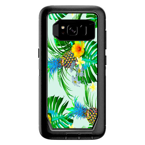 Tropical Floral Pattern Pineapple Palm Trees Otterbox Defender Samsung Galaxy S8 Skin