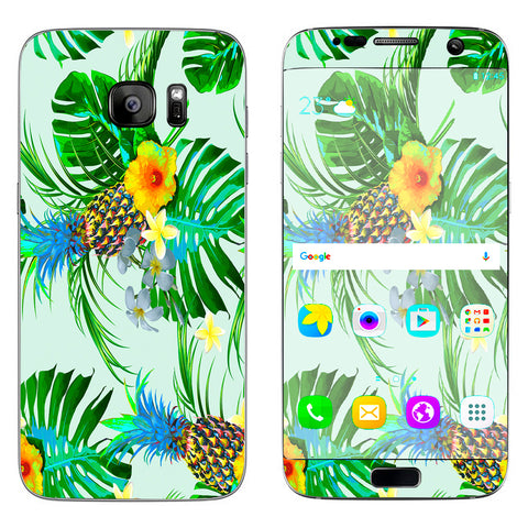 Tropical Floral Pattern Pineapple Palm Trees Samsung Galaxy S7 Edge Skin