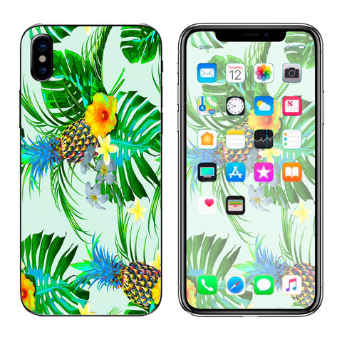 Tropical Floral Pattern Pineapple Palm Trees Apple iPhone X Skin