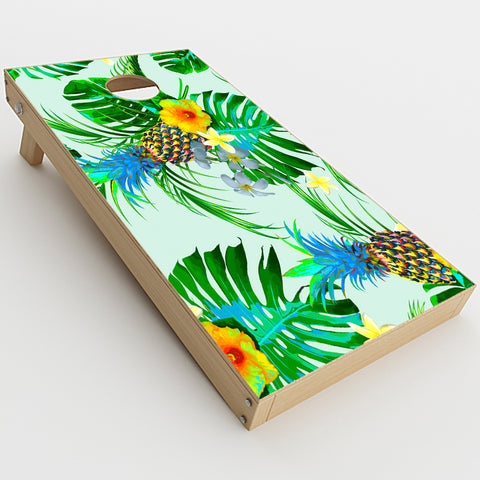 Tropical Floral Pattern Pineapple Palm Trees  Cornhole Game Board (2 pcs.) Skin