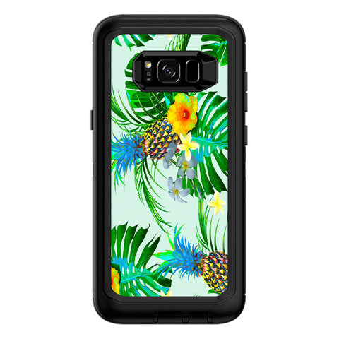 Tropical Floral Pattern Pineapple Palm Trees Otterbox Defender Samsung Galaxy S8 Plus Skin