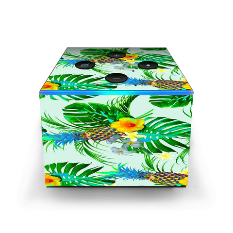 Tropical Floral Pattern Pineapple Palm Trees Amazon Fire TV Cube Skin