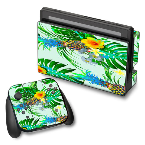 Tropical Floral Pattern Pineapple Palm Trees Nintendo Switch Skin