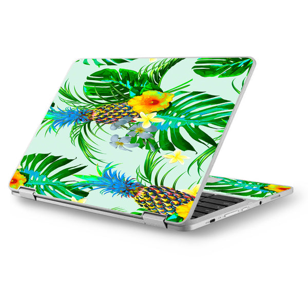 Tropical Floral Pattern Pineapple Palm Trees Asus Chromebook Flip 12 5