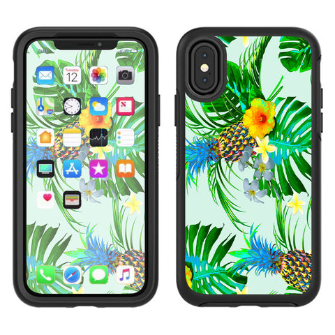 Tropical Floral Pattern Pineapple Palm Trees Otterbox Defender Apple iPhone X Skin