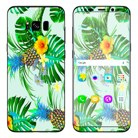 Tropical Floral Pattern Pineapple Palm Trees Samsung Galaxy S8 Plus Skin
