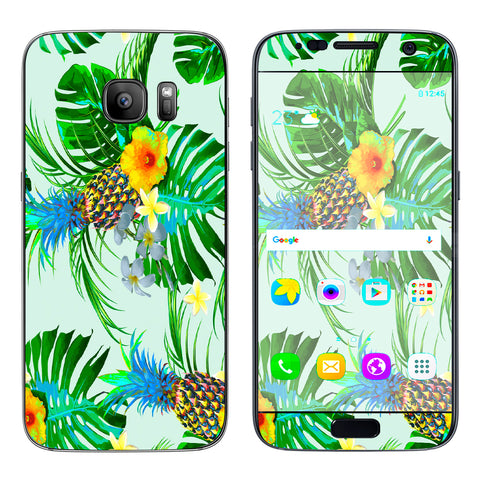 Tropical Floral Pattern Pineapple Palm Trees Samsung Galaxy S7 Skin