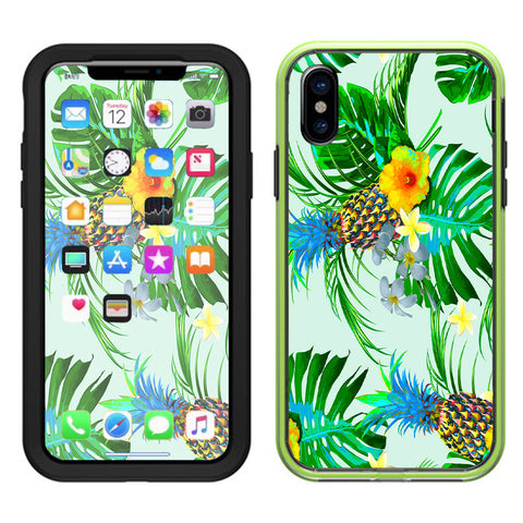 Tropical Floral Pattern Pineapple Palm Trees Lifeproof Slam Case iPhone X Skin