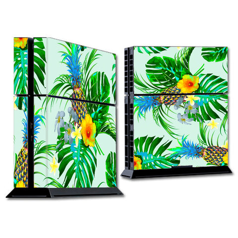 Tropical Floral Pattern Pineapple Palm Trees Sony Playstation PS4 Skin