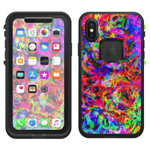 Tye Dye Fibers Felt Tie Die Colorful Lifeproof Fre Case iPhone X Skin