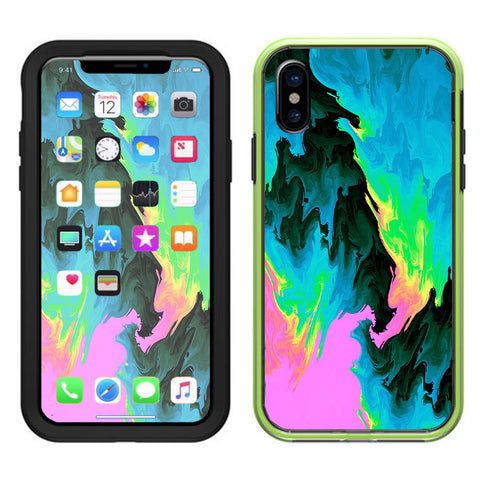 Water Colors Trippy Abstract Pastel Preppy Lifeproof Slam Case iPhone X Skin