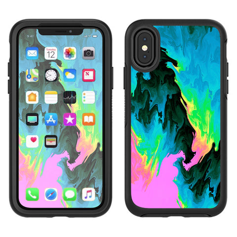 Water Colors Trippy Abstract Pastel Preppy Otterbox Defender Apple iPhone X Skin