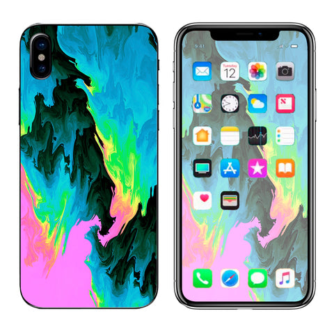 Water Colors Trippy Abstract Pastel Preppy Apple iPhone X Skin