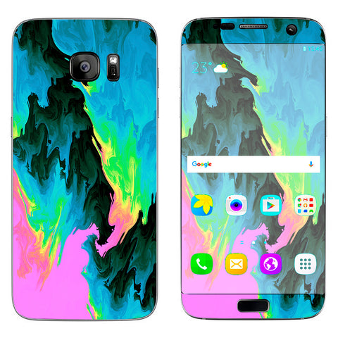 Water Colors Trippy Abstract Pastel Preppy Samsung Galaxy S7 Edge Skin
