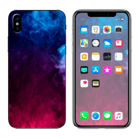 Blue Pink Smoke Cloud Apple iPhone X Skin