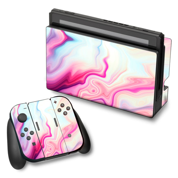 Skin Decal For Nintendo Switch Vinyl Wrap Pink Marble