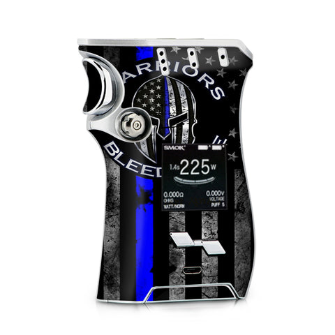Warriors Bleed Blue Spartan Line Flag Smok Mag Skin