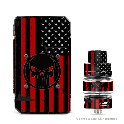 Red American Flag Black Punish Badge VooPoo Drag Mini Skin