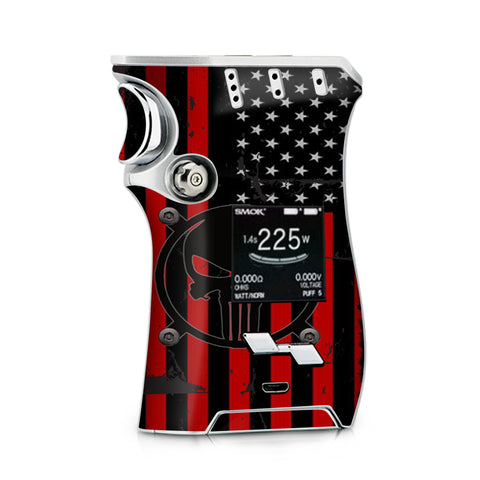 Red American Flag Black Punish Badge Smok Mag Skin