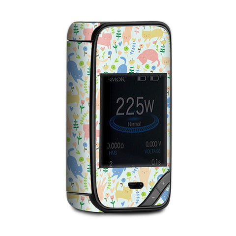 Cats Kittens Playful Flowers Smok X-Priv Skin