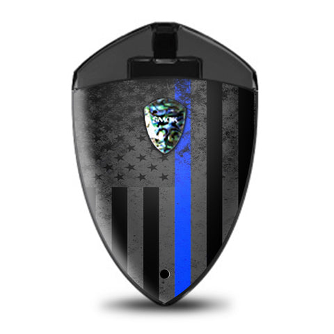 Thin Blue Line American Flag Distressed  Smok Rolo Badge Skin