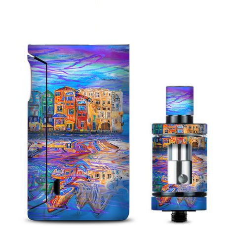 Colorful Oil Painting Water Reflection Town Homes Vaporesso Drizzle Fit Skin