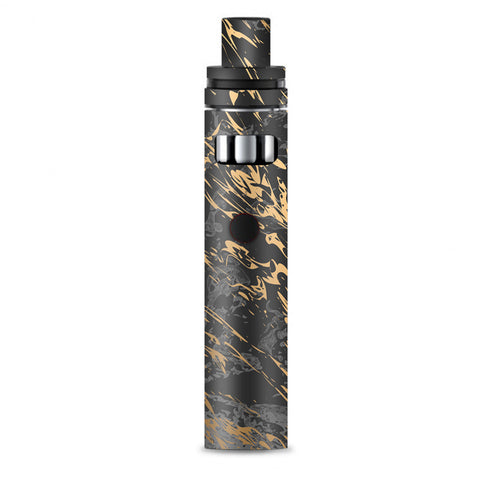 Gold Marble Dark Gray Background Smok Stick AIO Skin