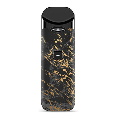 Gold Marble Dark Gray Background Smok Nord Skin