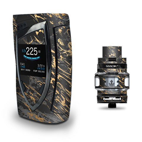 Gold Marble Dark Gray Background Smok Devilkin kit Skin