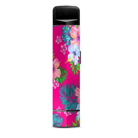 Pink Neon Hibiscus Flowers Suorin Edge Pod System Skin