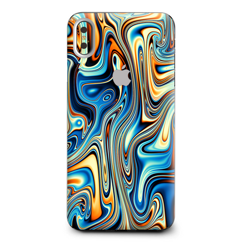 Blue Orange Psychadelic Oil Slick Apple iPhone XS Max Skin