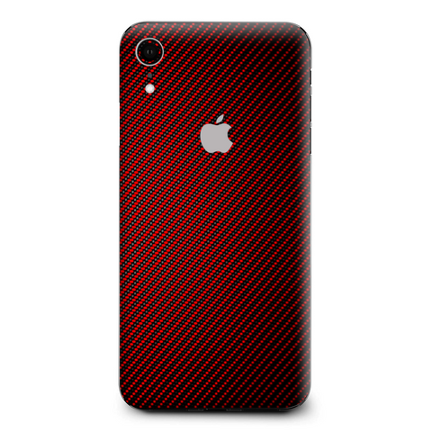 Red Black Carbon Fiber Weave Graphite 3D Apple iPhone XR Skin