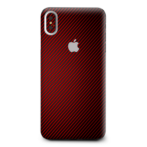 Red Black Carbon Fiber Weave Graphite 3D Apple iPhone XS Max Skin