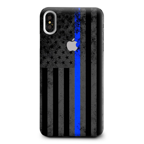 Thin Blue Line American Flag Distressed Apple iPhone XS Max Skin