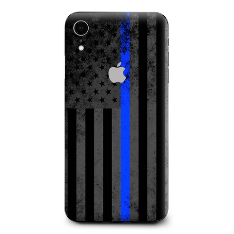 Thin Blue Line American Flag Distressed Apple iPhone XR Skin