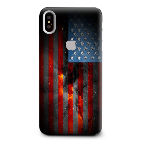 Dark Distressed American Flag Sky Stars Galaxy Apple iPhone XS Max Skin