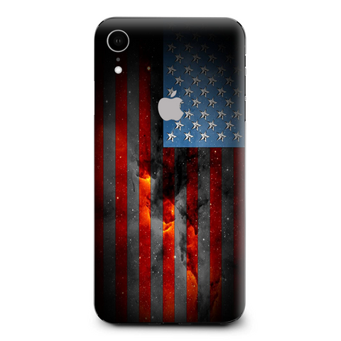 Dark Distressed American Flag Sky Stars Galaxy Apple iPhone XR Skin