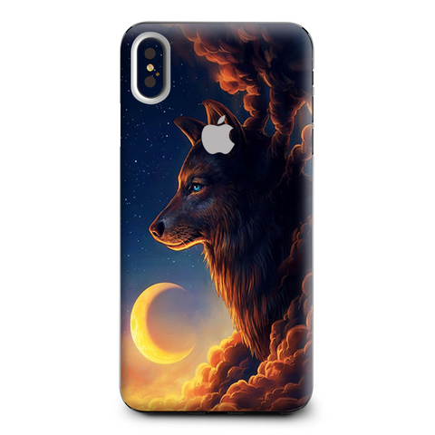 Wolf Clouds Moon Sky Apple iPhone XS Max Skin