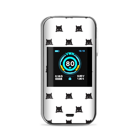 Sneaky Cat Kitten Pattern Black On White Vaporesso Luxe Nano Kit Skin