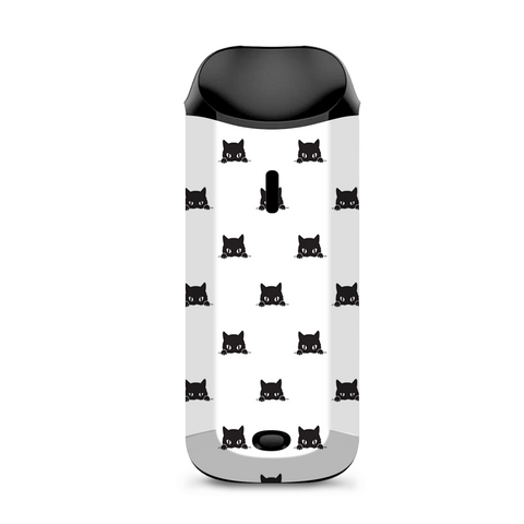 Sneaky Cat Kitten Pattern Black On White Vaporesso Nexus AIO Kit Skin