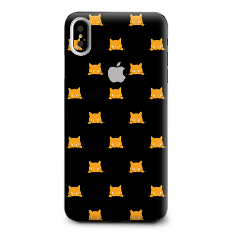 Sneaky Cat Kitten Pattern Gold On Black Apple iPhone XS Max Skin