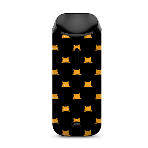 Sneaky Cat Kitten Pattern Gold On Black Vaporesso Nexus AIO Kit Skin